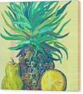 Pear And Pineapple Wood Print