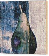 Pear In Blue Wood Print