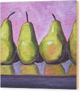 Pear Line Wood Print