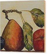 Pear Plum Apple Wood Print