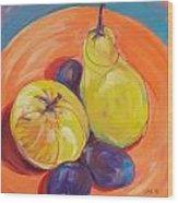 Pear Plums Apple Wood Print