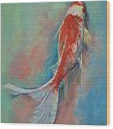Pearl Banded Koi Wood Print by Michael Creese