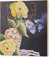 Pearls And Roses Wood Print