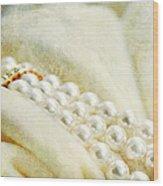 Pearls On White Velvet Wood Print