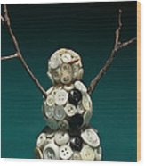 Pearly Snowman Christmas Card Wood Print