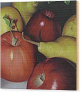 Pears And Apples Wood Print by Natasha Denger