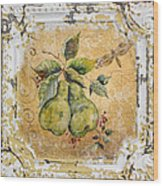 Pears And Dragonfly On Vintage Tin Wood Print