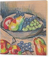 Pears And Grapes 2 Wood Print