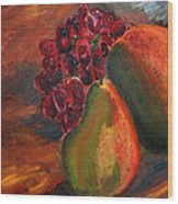 Pears And Grapes In The Lamplight Wood Print