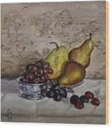 Pears And Grapes Wood Print