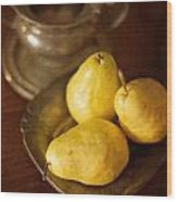 Pears And Great Grandpa's Silver Wood Print