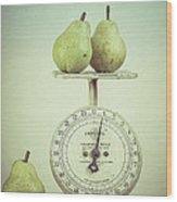Pears And Kitchen Scale Still Life Wood Print