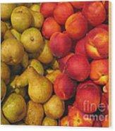 Pears And Peaches. Fresh Market Series Wood Print