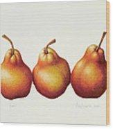 Pears Wood Print by Annabel Barrett