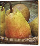 Pears In A Basket Wood Print
