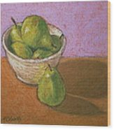 Pears In Bowl Wood Print