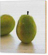 Pears On A White Background Wood Print