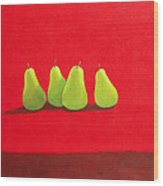 Pears On Red Cloth Wood Print