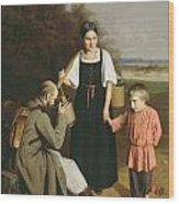 Peasant Offering A Soldier A Drink Wood Print