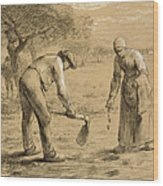 Peasants Planting Potatoes  Wood Print