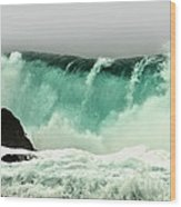 Pebble Beach Crashing Wave Wood Print