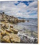 Pebbled Beach Under Dramatic Skies Number Two Wood Print