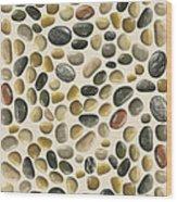 Pebbles On Sand Wood Print
