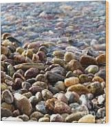 Pebbles On The Shore Wood Print