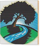 Pecan Tree Winding River Sunrise Retro Wood Print