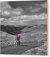 Pedalling The Pass In Pink  Wood Print