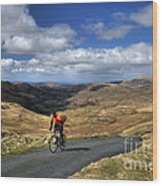 Pedalling The Pass Wood Print