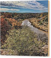 Pedernales River In Autumn Wood Print