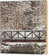 Pedestrian Bridge In The Snow Wood Print