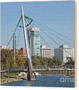 Pedestrian Bridge Over Arkansas River In Wichita Wood Print