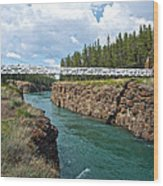 Pedestrian Bridge Over Yukon River In Miles Canyon Near Whitehorse-yk Wood Print