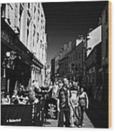 Pedestrians And Drinkers Enjoying A Sunday Afternoon Drink In The Bunch Of Grapes Pub Galway Wood Print