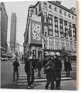Pedestrians Cross Crosswalk Crossing Of 6th Avenue Broadway And 34th Street At Macys New York Usa Wood Print by Joe Fox