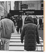 Pedestrians Crossing Crosswalk Carrying Luggage On Seventh 7th Ave Avenue Wood Print by Joe Fox