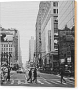 Pedestrians Crossing Crosswalk On West 34th Street And Sixth 6th Avenue At Herald Square New York Wood Print