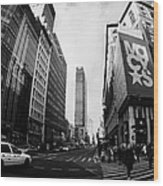 Pedestrians Crossing Crossway At Macys At Broadway And 34th Street Herald Square Wood Print by Joe Fox