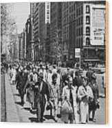Pedestrians In New York Wood Print