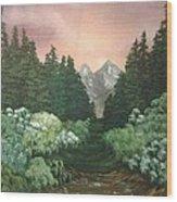 Peek-a-boo Mountains Wood Print