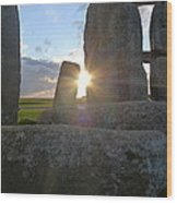 Peek-a-boo Sun At Stonehenge Wood Print