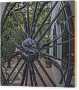 Peek Into Courtyard Wood Print