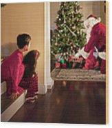 Peeking At Santa Wood Print
