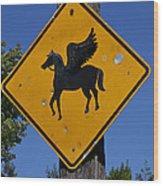 Pegasus Road Sign Wood Print