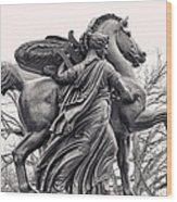 Pegasus Tamed By The Muses Erato And Calliope Wood Print