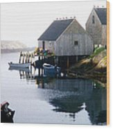 Peggy's Cove Boat And Fisherman's Boat House Wood Print