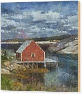 Peggy's Cove Wood Print by Cindy Rubin