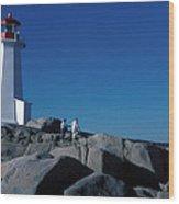 Peggy's Cove Lighthouse Wood Print